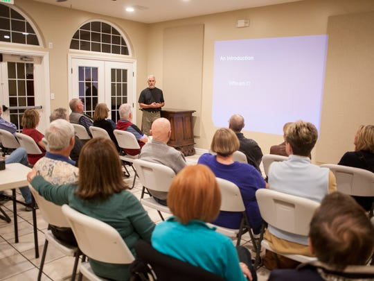 Tom Butine of Conserve Southwest Utah discusses alternative options to the Lake Powell Pipeline during a community meeting Thursday, Feb. 18, 2016. Conserve Southwest Utah is marking its 10th anniversary with an open house on Saturday.