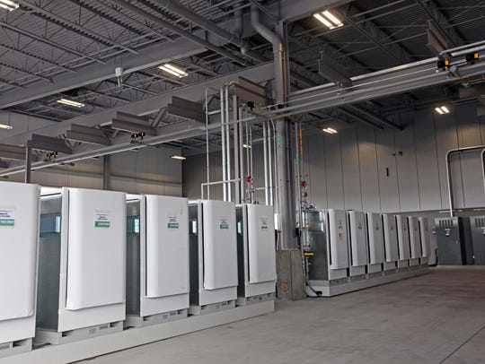 Fuel cell servers sit at the site of Bloom Energy's manufacturing facility in Newark.