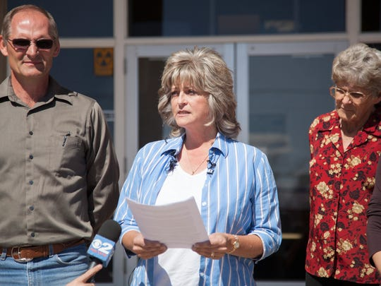 Jeanette Finicum, widow of LaVoy Finicum, expresses her views concerning the investigation surrounding the death of her husband Tuesday, March 8, 2016.