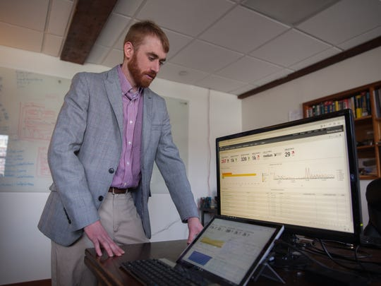 Nate Couture, Chief Technology Officer of NuHarbor Security monitors real-time security data for their clients, Tuesday, in Burlington.