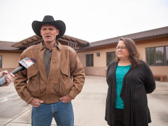 Guy Finicum and Sharla Christie speak with members of the media concerning photos recently released by the U.S. Fish & Wildlife Service alleging extensive damage caused by occupiers of Malheur Tuesday, March 29, 2016.