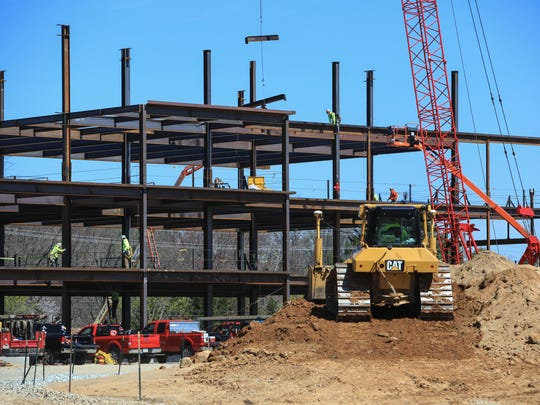 Construction continues at the site of Corporation Services Co.'s future headquarters in Greenville.