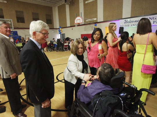 "Angel View clients enjoy their ""Prom Night"" at the Demuth Community Center with music and food on April 9, 2016."