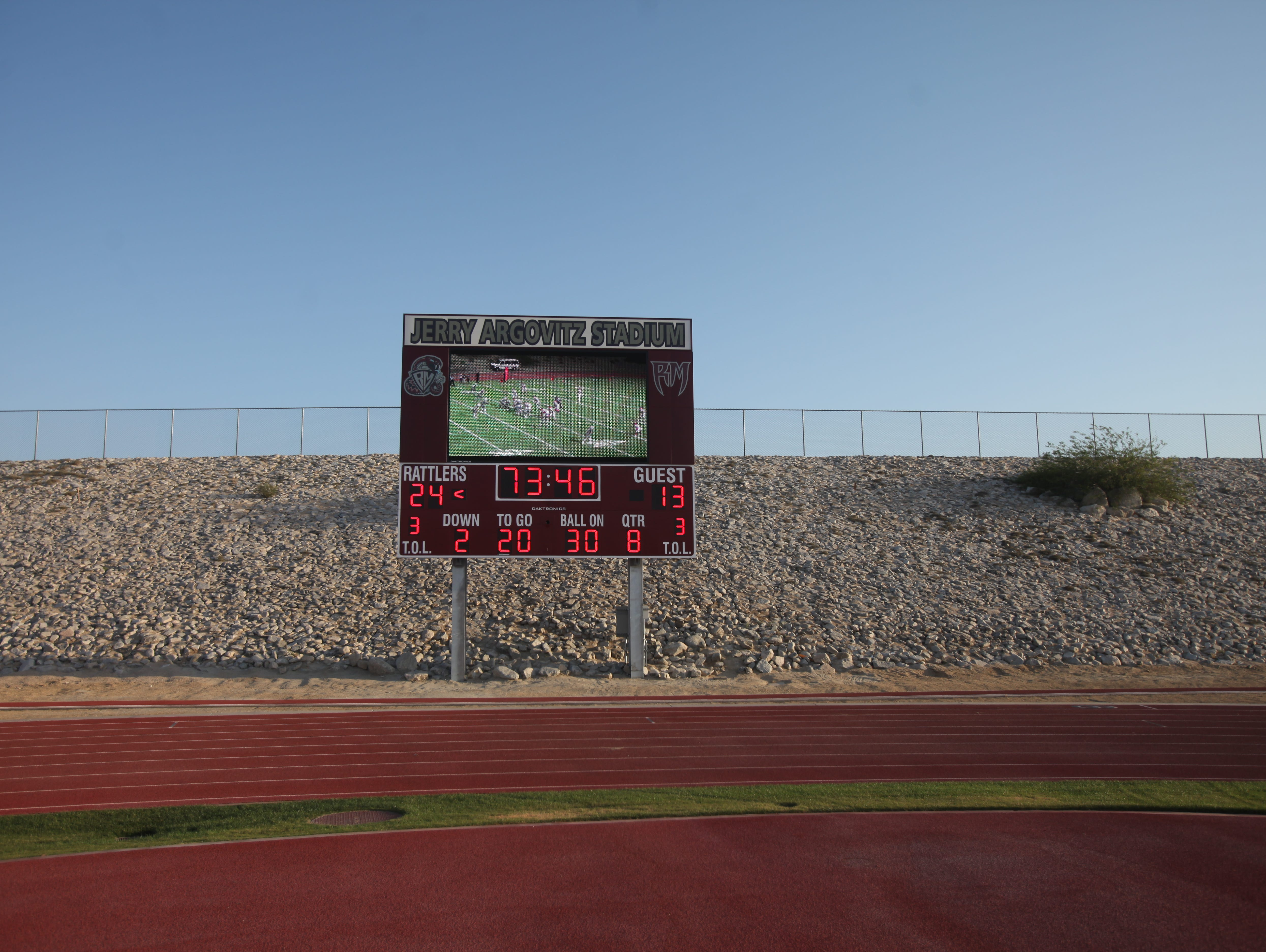 The new jumbotron at Jerry Argovitz Stadium at Ranch Mirage High School will be the first of its kind in the Coachella Valley high schools.