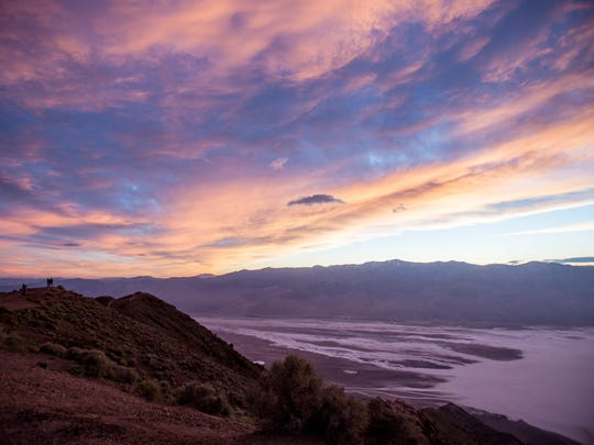 The sun sets over Death Valley National Park, seen