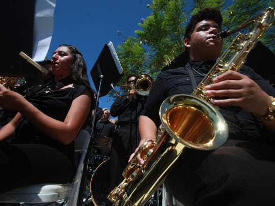 The Shadow Hills High School Jazz Band performs at the annual Indio Block Party on Saturday, May 21, 2016.