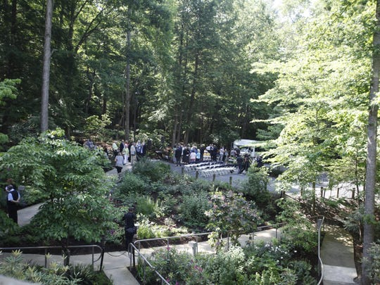 A dedication of Ruth's Prayer Garden was held June 1, 2016 outside the Chatlos Memorial Chapel at the Billy Graham Training Center at the Cove in Asheville. Ruth is the late wife of evangelist Billy Graham. Guests sang together and listened as Graham's grandson, Will Graham, gave a tribute to his late grandmother.