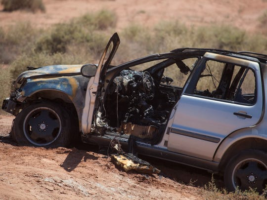 St. George police investigate a vehicle fire near Pioneer Road Friday, June 3, 2016.