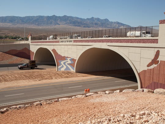 The 300-foot long bridge at Exit 118, which includes locally significant artwork, creates a new welcome to the City of Mesquite.
