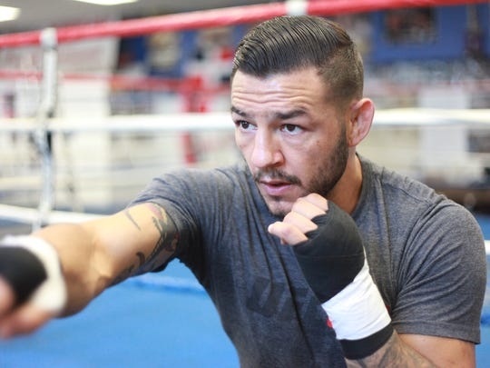 Cub Swanson during a training session at the Indio Boys and Girls Club on June 29, 2016. He will fight Tatsuya Kawajiri in August.