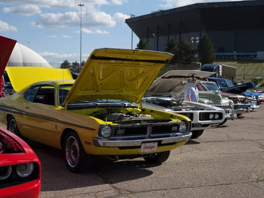 Cars on display at 2015 Roadkill Nights Powered by Dodge