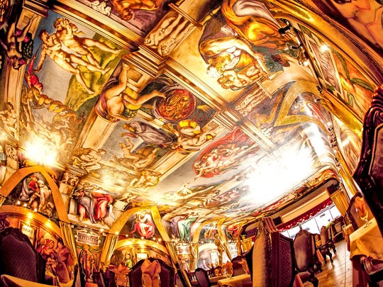 """The Galleria de Paco in Waterloo features a replica of the """"Sistine Chapel"""" created with spray paints."""