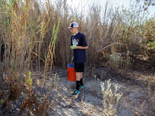 Riley Zurawik searches for trash along the Calleguas Creek located in Camarillo Saturday.