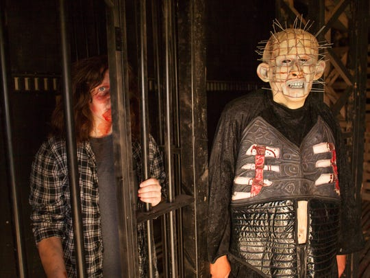 Actors and crew members from the Staheli Family Farm Field of Screams prepare for opening night Thursday, Sept. 29, 2016.