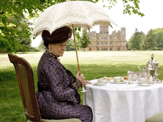 """Dresses worn by Maggie Smith in """"Downton Abbey"""" are on display in South Bend, Ind."""