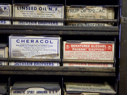 Old medicine labels that were original to MacAlpine's