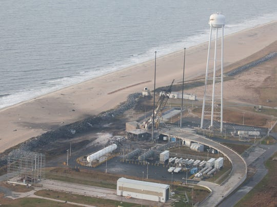 An aerial view of the Wallops Island launch facilities.
