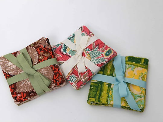 Vintage bark cloth coasters by Vintique Designs.