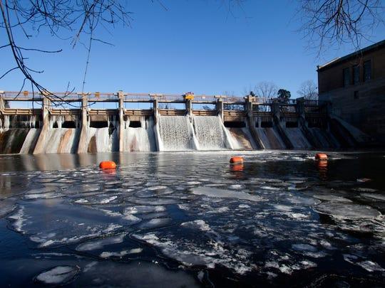 The Barton Dam along the Huron River in Ann Arbor,