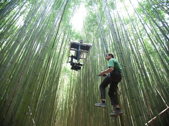 Bryan Smith and his camera platform are suspended from trees during one shoot.