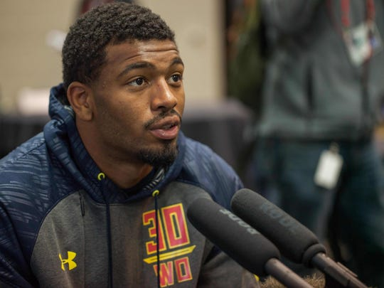 Tennessee wide receiver Josh Malone speaks to the media during the 2017 combine at Indiana Convention Center on March 3, 2017.