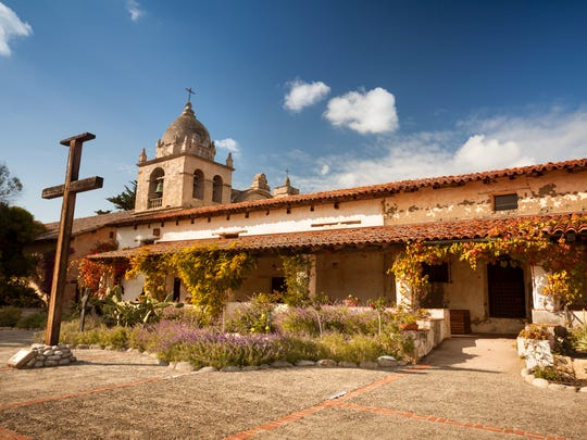The Carmel Mission Basilica, the mission of San Carlos Borromeo, founded in 1770 by Junipero Serra, Carmel-by-the-Sea, California.