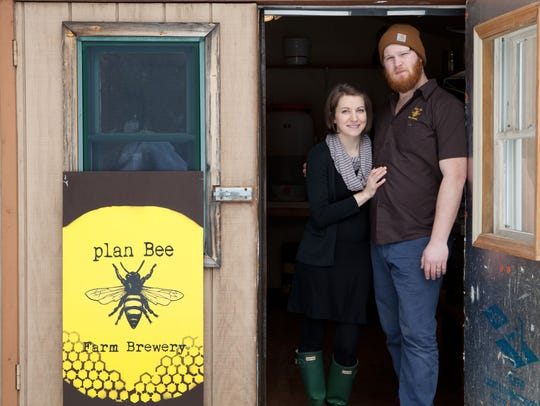 Emily and Evan Watson at their brewery Plan Bee.