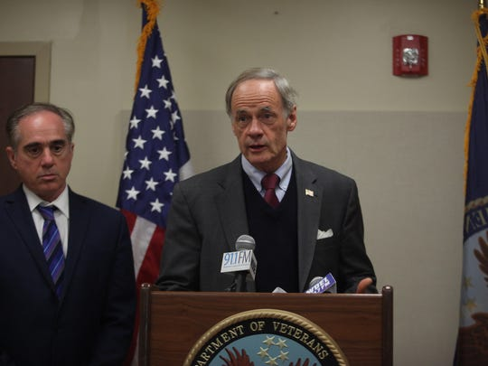 Sen. Tom Carper takes questions after a roundtable discussion with local veteran group leaders.