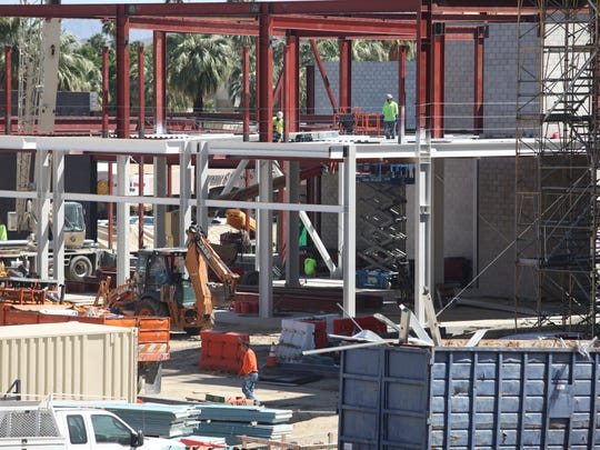 Construction continues in downtown Palm Springs on Wednesday, April 5, 2017.