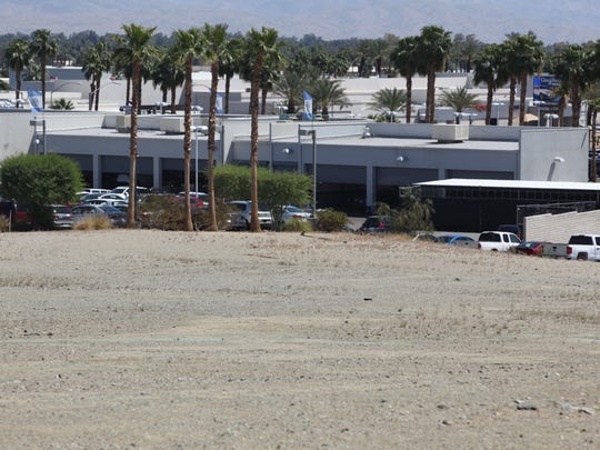 View of Volkswagen Palm Springs from the site of a proposed marijuana cultivation facility on Wednesday, April 5, 2017 in Cathedral City.