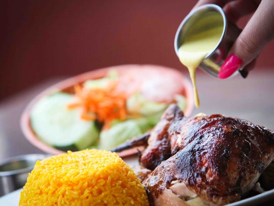 At The former Chicken House Peruvian Cuisine on Philadelphia Pike, a half chicken is served with yellow rice and house salad. The spicy yellow chile pepper aji sauce always accompanies the chicken. The Penny Hill site closed, but there are locations in Newark and Middletown.