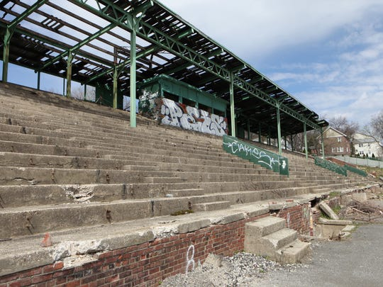 The crumbling stone bleachers at Memorial Field in Mount Vernon, April 14, 2017.