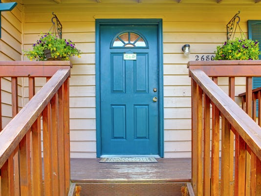 Entrance porch with blue door