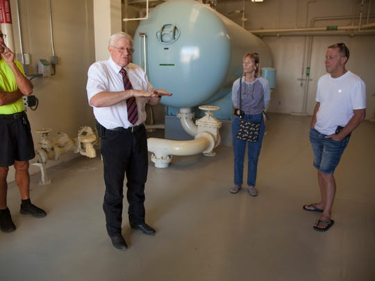 Water District Operations Manager Hank Childers conducts a tour through the Quail Creek Water Treatment Plant Tuesday, May 2, 2017.