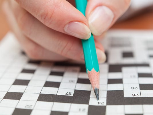 Crossword puzzle close-up
