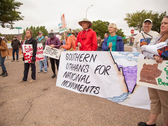 Demonstrators gather in Kanab in a hope of garnering the attention of Interior Secretary Ryan Zinke during his trip to the Grand Staircase-Escalante National Monument Wednesday, May 10, 2017.