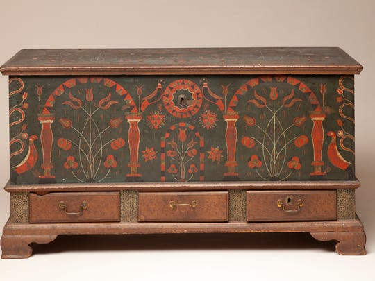 Unidentified Artist, United States, Chest over Drawers, 1803, tulip poplar, brass, iron, and paint, 27 x 50 x 22 ½ in. (68.5 x 127 x 57.1 cm).