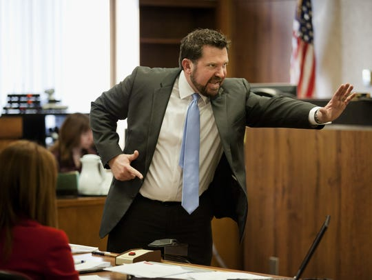 Lawyer Dan Damman defends a case in St. Clair County
