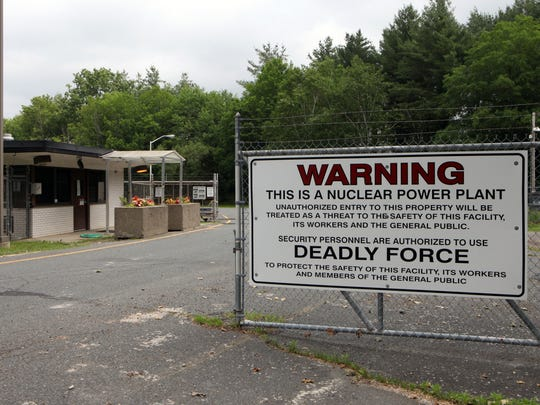 The entry gate warning sign at the Vermont Yankee Nuclear Power Plant in Vernon, Vermont, June 19, 2017.