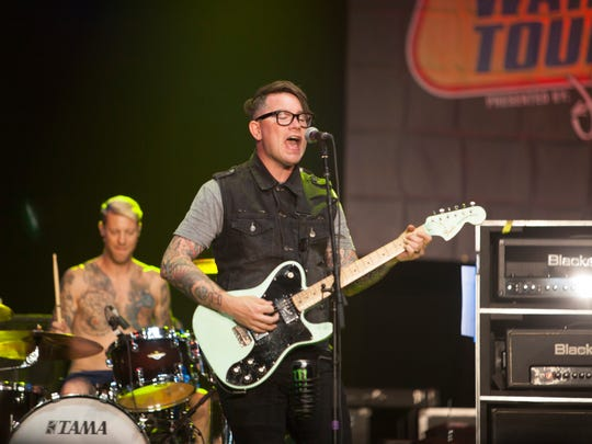 JT Woodruff, lead vocals and guitar in Hawthorne Heights, performs at the Hard Rock Hotel in Las Vegas during the Vans Warped Tour Friday, June 23, 2017.