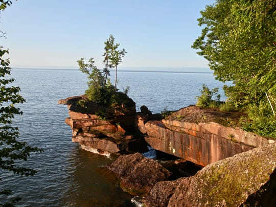 Red sandstone cliffs are a major draw to Big Bay State Park on Madeline Island.