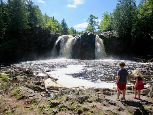 Little Manitou Falls tumbles 31 feet along the Black River at Pattison State Park outside Superior.