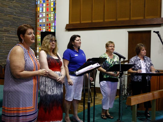 ADVANCED FOR RELEASE SATURDAY, JULY 15, 2017 Churchgoers attend a Sunday service at the Metropolitan Community Church of the Lehigh Valley in Bethlehem, Pa., on June 25, 2017. (Erin Gallagher/The Express-Times via AP)