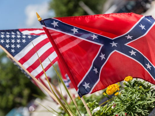 Confederate and American flags stock