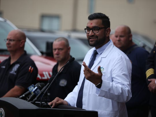 Jay Patel, owner of Greenhill Pharmacy in Wilmington, donated a supply of the overdose drug, Naloxone, to New Castle County volunteer fire companies.