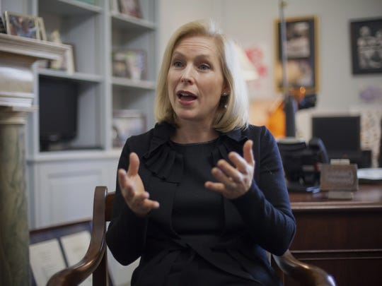 "This photo taken Jan. 21, 2014 shows Sen. Kirsten Gillibrand, D-N.Y., chair of the Senate Armed Services subcommittee on Personnel, discussing her proposed reforms for prosecuting sexual assaults in the military, during an interview with The Associated Press in her Capitol Hill office in Washington. An Associated Press investigation into the military's handling of sexual assaults in Japan has found a pattern of random and inconsistent judgments in which most offenders are not incarcerated. Instead, commanders have ordered ""nonjudicial punishments"" that ranged from docked pay to a letter of reprimand.   (AP Photo/J. Scott Applewhite)"