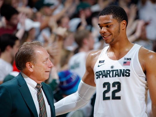 Michigan State coach Tom Izzo, left, and Miles Bridges talk during the second half of MSU's 98-66 win on Friday, Nov. 10, 2017, at Breslin Center.