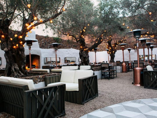The outdoor courtyard at Smithy in Santa Barbara is