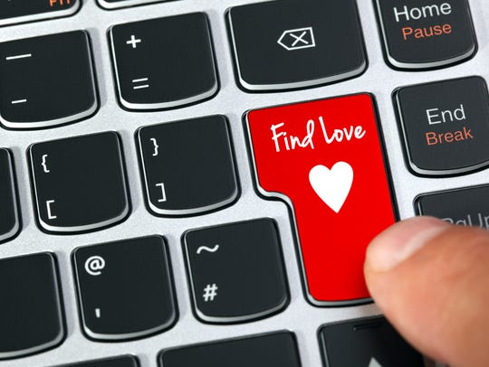 Computer keyboard key with find love and heart icon