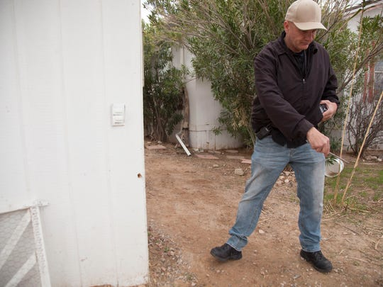 David Bounsall, owner of the Federal Fugitive Recovery Agency, helps search for Jerry and Susan McFalls of Littlefield, Arizona, on Saturday, March 17, 2018. The couple have been missing since Jan. 11, 2018.